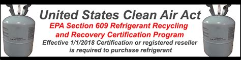 clean air act section 608 refrigerant sales restriction epa requirements section