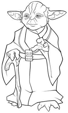 cool simple yoda drawing sketch coloring page