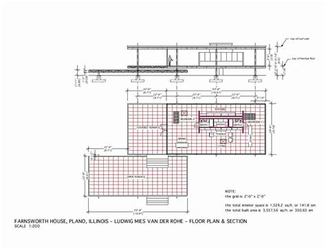 Farnsworth House Plan Farnsworth House Mies Der Rohe 1951 Floor Plan Section Mies Inspiration