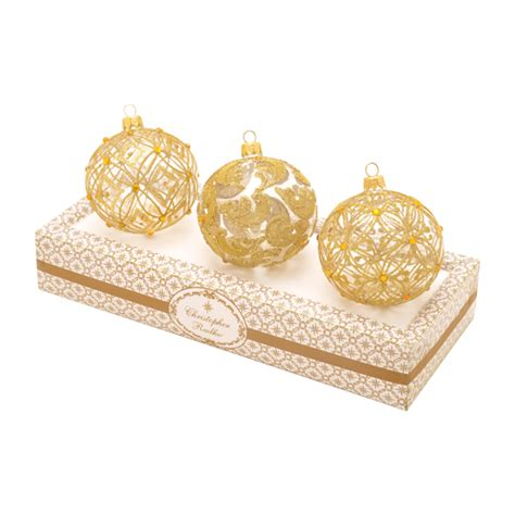 boxed ornaments sets boxed glass ornaments clear with gold set of 3 by