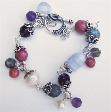 Handmade Gemstone Jewelry - handmade amethyst and labradorite multigem bracelet