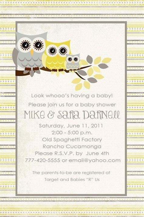 Yellow And Grey Owl Baby Shower by Owl Baby Shower Invitation Owl Birthday Gender