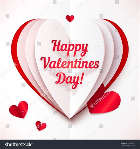 happy valentines day texts paper folded vector with happy valentines day text