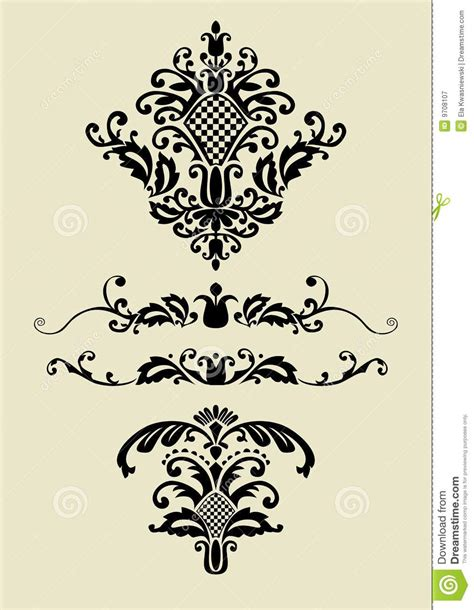 ornament design elements vector set set of vector ornaments for design royalty free stock