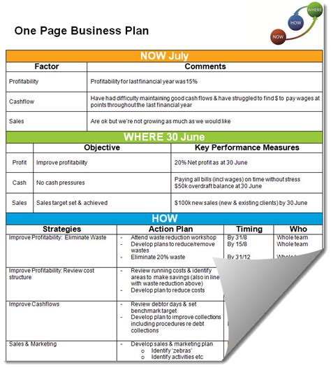 one page business plan summary