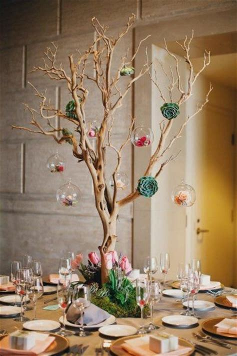 tree centerpieces ideas san francisco wedding by tinywater photography manzanita