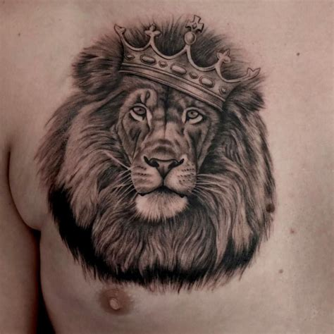 lion crown tattoo with crown wearing a crown