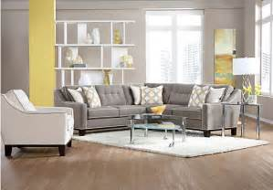 rooms to go living rooms the cindy crawford state street gray 3pc sectional sofa