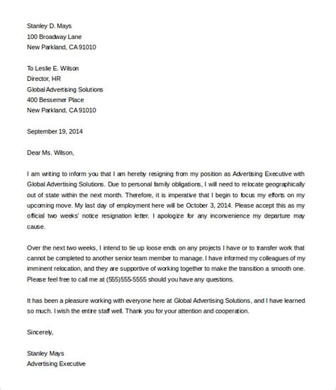 Resignation Letter Executive two weeks notice letter 33 free word pdf documents