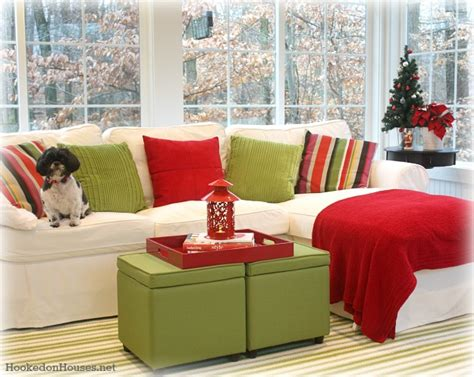 green and red living room decorating a sunroom for winter
