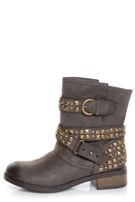 laundry showstopper brown studded motorcycle boots
