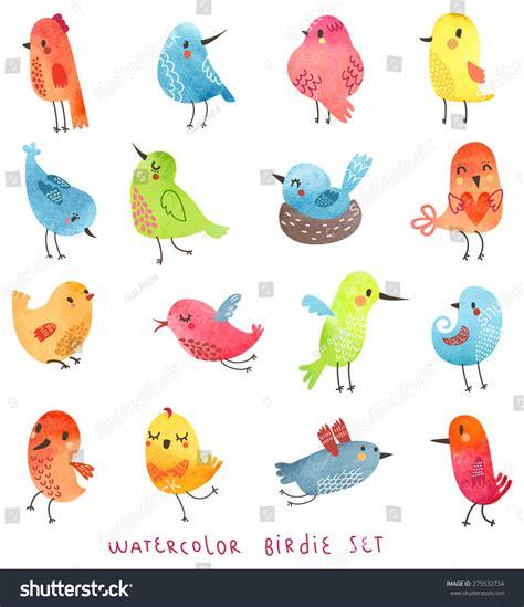 Lcute Set 3in1 Pigeons vector watercolor set birds stock vector 275532734