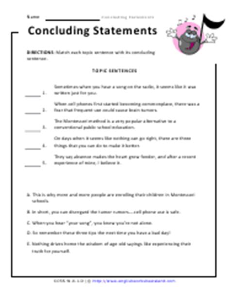 Writing Conclusions Worksheet by Writing Concluding Statements For Opinions Worksheets
