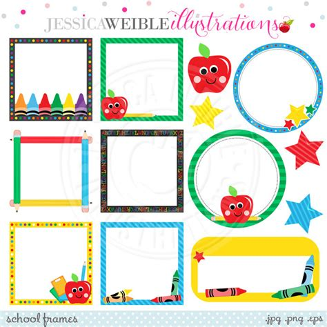 School Frame Clipart school frames digital clipart for commercial or personal