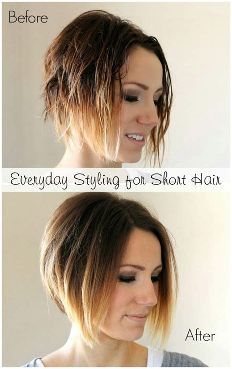 everyday hairstyles for moms everyday styling tutorial for a short angled bob easy
