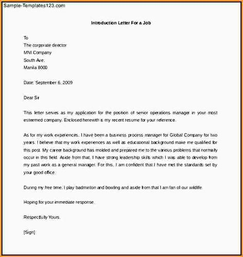 Introduction Letter For A Cv Introduction Letter Cover Letter Exle Cover Letter Introductions Introduction Cover