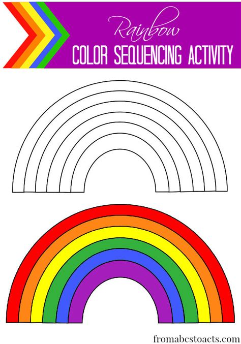 color songs for preschoolers rainbow color sequencing activity from abcs to acts