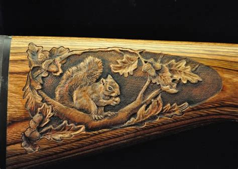 leaf pattern wood carving custom hand carved gun stock by robin coalson with deer