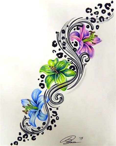 flower and star tattoo designs colorful leopard print flower design flower
