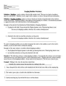 Dangling And Misplaced Modifiers Worksheet by Dangling Modifiers Worksheet And Key By Lonnie Jones Tpt