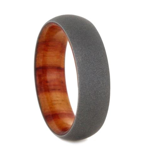 sandblasted titanium tulip wood wedding band with sandblasted titanium overlay