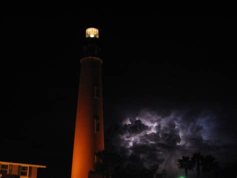 light house at night ponce inlet lighthouse at night