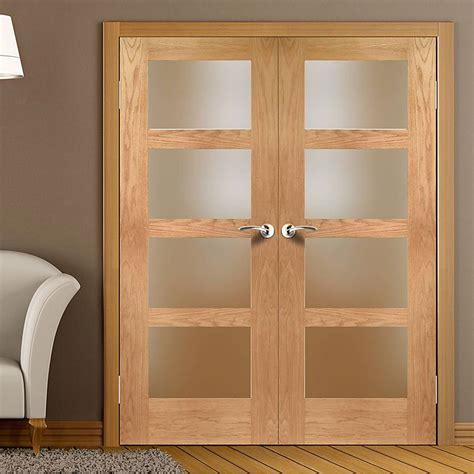 Glass Pane Door Shaker 4 Pane Oak 1 2 Hour Door Pair With Obscure Glass