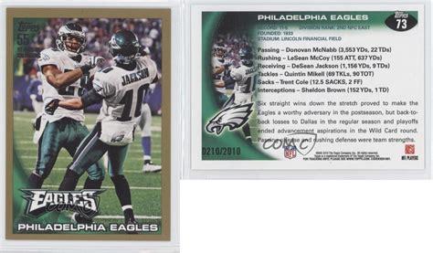 philadelphia eagles cards 2010 topps gold 73 philadelphia eagles football card ebay
