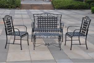 Wrought Iron Patio Furniture Wrought Iron Settee Patio Set Contemporary Patio