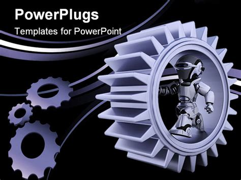 powerpoint template gears and wrenches over yellow 3d render of robots with gear mechanism powerpoint