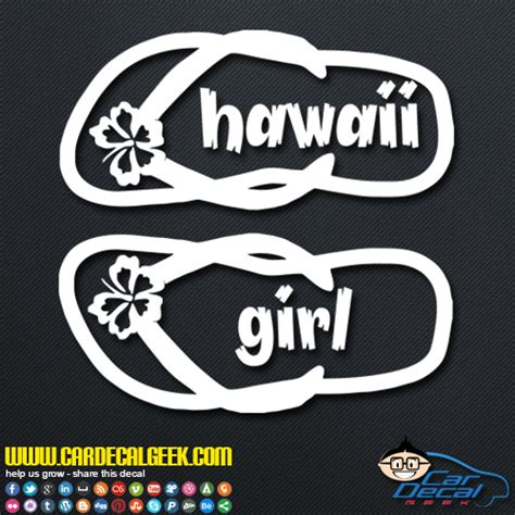 Auto Sticker Hawaii by Hawaii Girl Flip Flops Car Window Laptop Wall Decal Sticker
