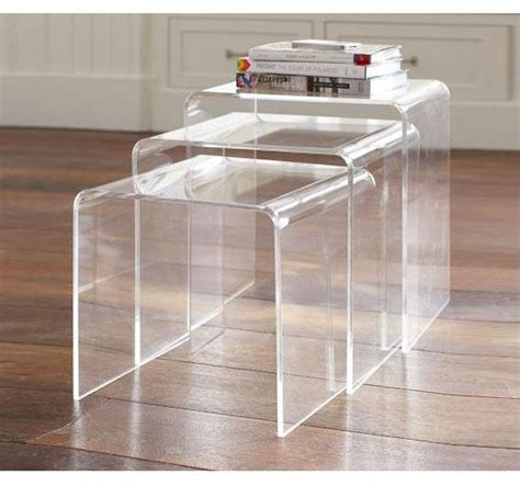 3pc acrylic perspex nesting tables side coffee table set