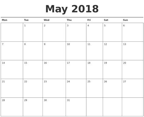 printable calendar starting with monday may 2018 calendar printable