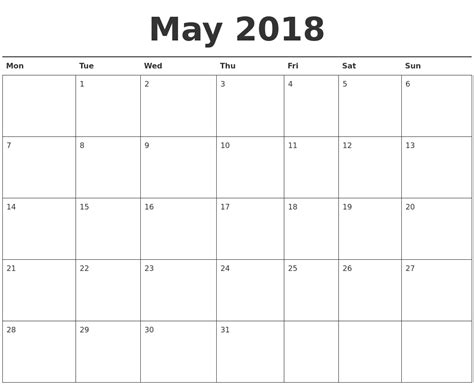 printable calendar starting monday may 2018 calendar printable