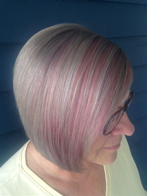 pictures of highlights in gray hair candy pink highlights silver grey hair hair pinterest