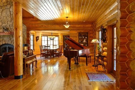 Brown Maple Flooring in a Country Mountain Log Home