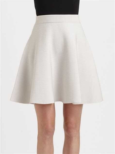 Pearl Knit Skirt lyst knit flared skirt in white