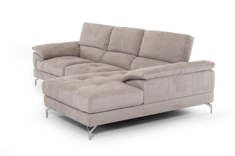 divani casa marion modern grey fabric sectional sofa