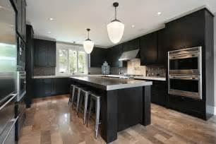 Craftsman style kitchen with black wood cabinets on a light wood floor