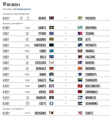 printable nfl schedule regular season 2017 nfl 2017 schedule regular season week 4