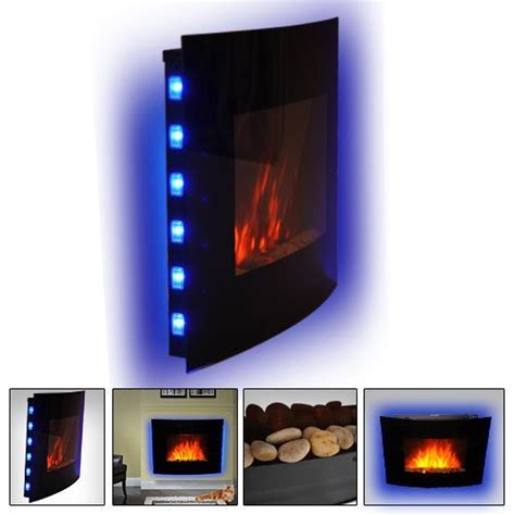 Fireplace Led Lights by Homcom Led Curved Glass Electric Wall Mounted Place