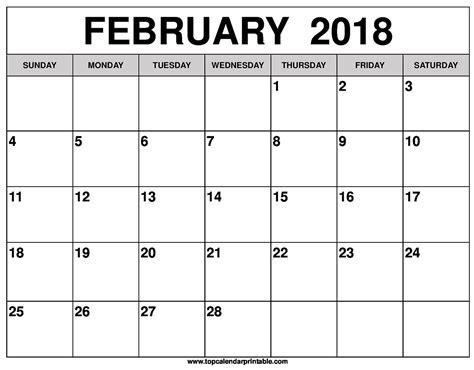 Calendar For February February 2018 Calendar