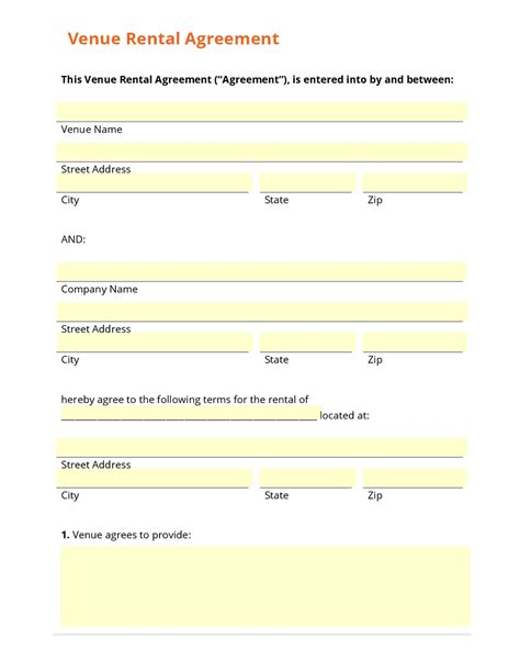 venue rental agreement template business form template gallery