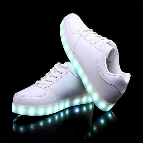 Light Up Kids Shoes Usb Charging Led Shoes White Classic Flashing Sneakers
