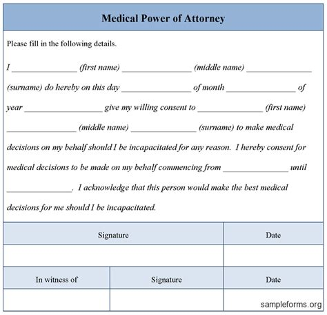 medical power of attorney template out of darkness