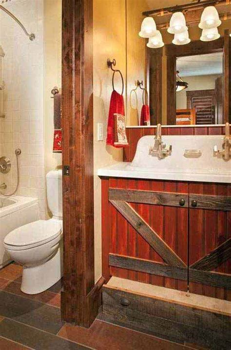 rustic cabin bathroom ideas rustic red bathroom