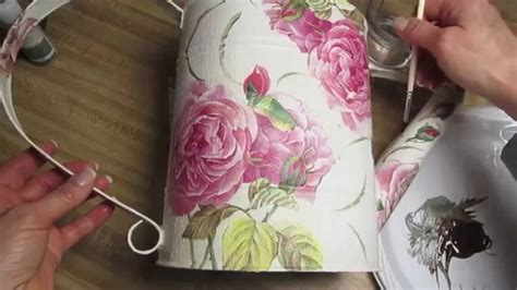 How To Decoupage Metal - chalk paint decoupage on metal pitcher