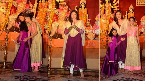 sushmita sen with family sushmita sen and her daughters seek blessings from maa durga
