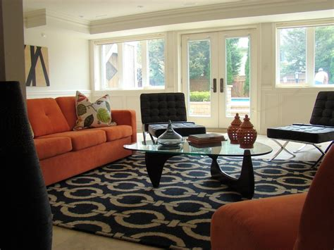 Orange Rug Living Room by Orange Shag Rug Living Room Eclectic With Accent Colors