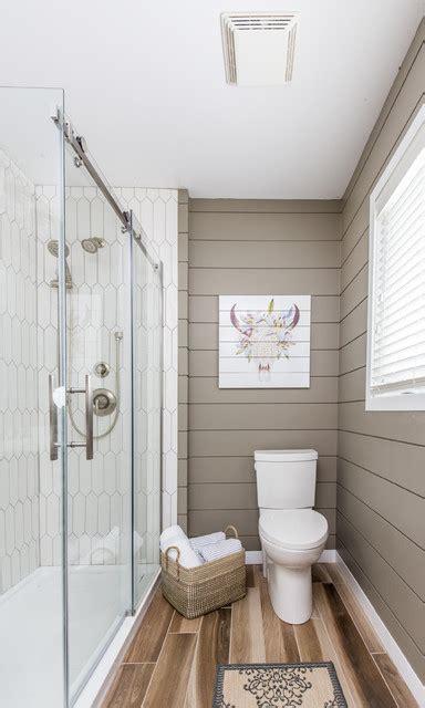 shiplap  hexagon tiles   bathroom